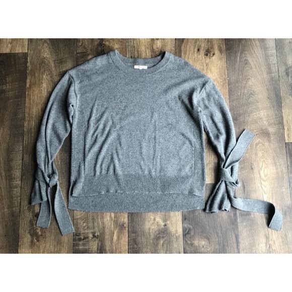 Madewell Sweaters - Madewell Gray Pullover Tie Cuff Crewneck Sweater eacae2084